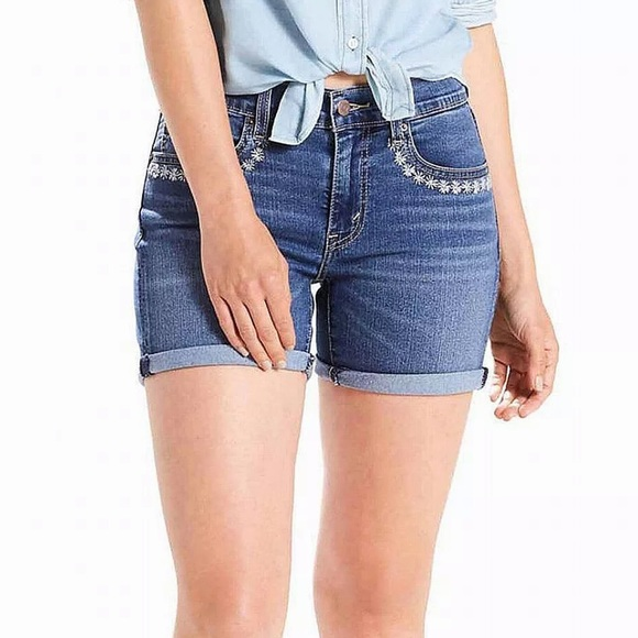 Levi's Pants - NEW! Levi's Floral Embroidery Cuffed Denim Shorts